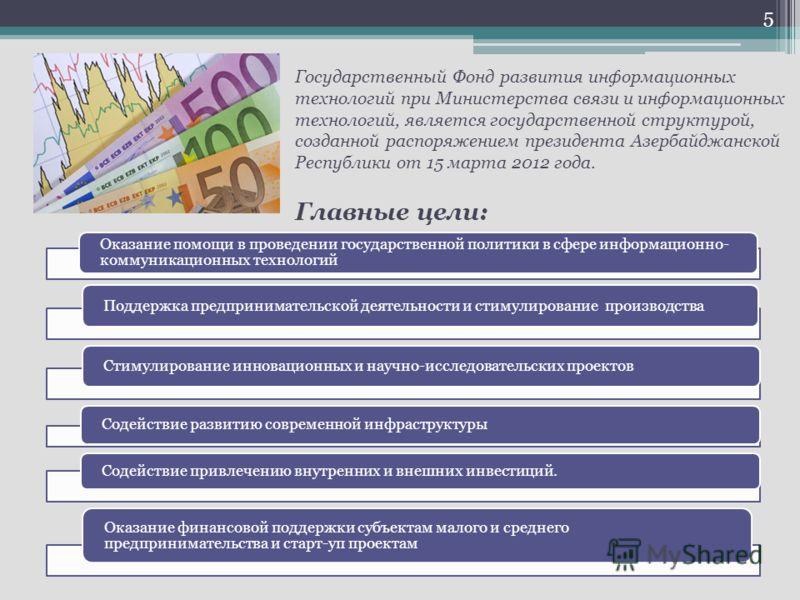 Государственный Фонд развития информационных технологий при Министерства связи и информационных технологий, является государственной структурой, созданной распоряжением президента Азербайджанской Республики от 15 марта 2012 года. Главные цели: Оказан