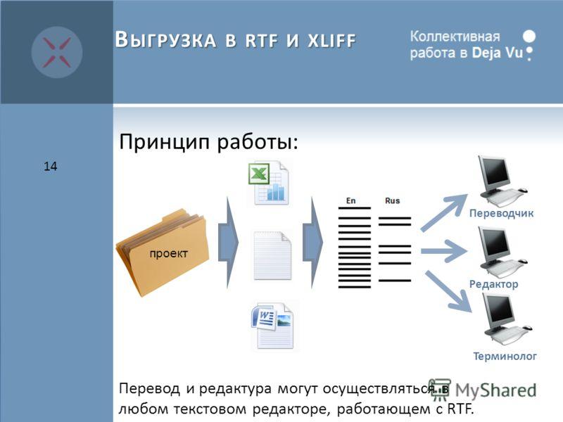 Принцип работы: Перевод и редактура могут осуществляться в любом текстовом редакторе, работающем с RTF. 14 В ЫГРУЗКА В RTF И XLIFF проект Переводчик Терминолог Редактор