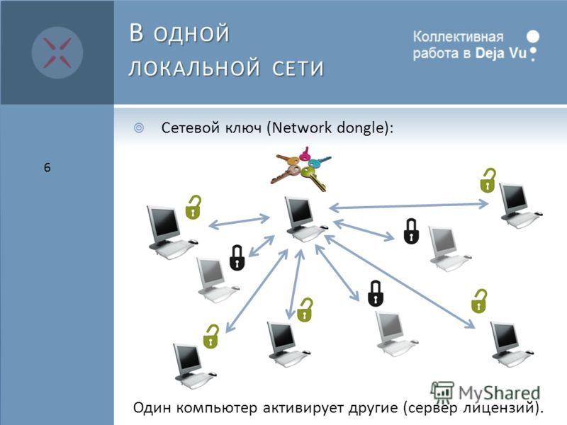 В ОДНОЙ ЛОКАЛЬНОЙ СЕТИ Сетевой ключ (Network dongle): Один компьютер активирует другие (сервер лицензий). 6