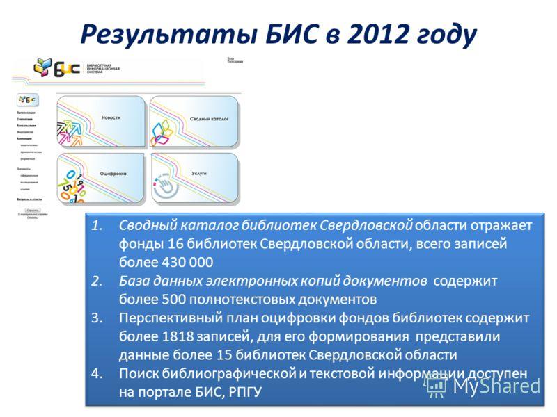 Результаты БИС в 2012 году 1.Сводный каталог библиотек Свердловской области отражает фонды 16 библиотек Свердловской области, всего записей более 430 000 2.База данных электронных копий документов содержит более 500 полнотекстовых документов 3.Перспе