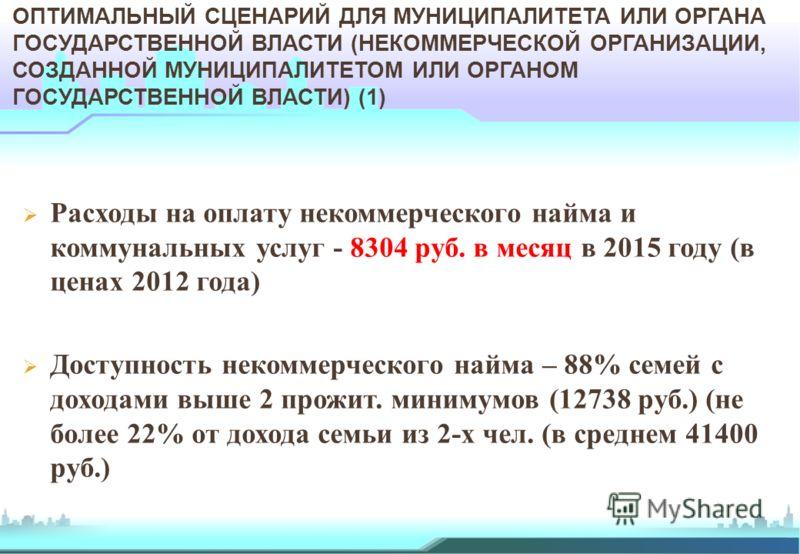 Расходы на оплату некоммерческого найма и коммунальных услуг - 8304 руб. в месяц в 2015 году (в ценах 2012 года) Доступность некоммерческого найма – 88% семей с доходами выше 2 прожит. минимумов (12738 руб.) (не более 22% от дохода семьи из 2-х чел.