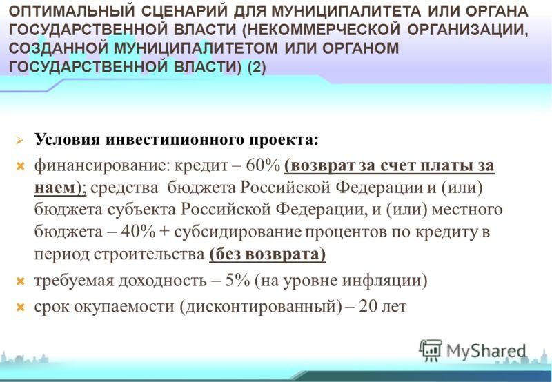 Условия инвестиционного проекта: финансирование: кредит – 60% (возврат за счет платы за наем); средства бюджета Российской Федерации и (или) бюджета субъекта Российской Федерации, и (или) местного бюджета – 40% + субсидирование процентов по кредиту в