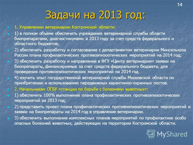 Задачи на 2013 год: 1. Управлению ветеринарии Костромской области: 1. Управлению ветеринарии Костромской области: 1) в полном объеме обеспечить учреждения ветеринарной службы области биопрепаратами, диагностикумами в 2013 году за счет средств федерал