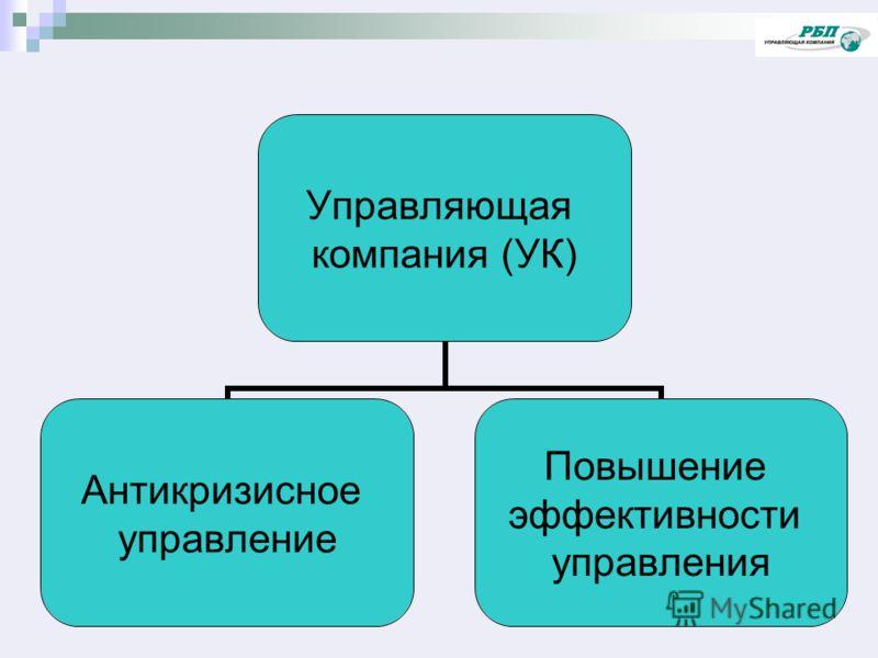 Управляющая компания (УК) Антикризисное управление Повышение эффективности управления