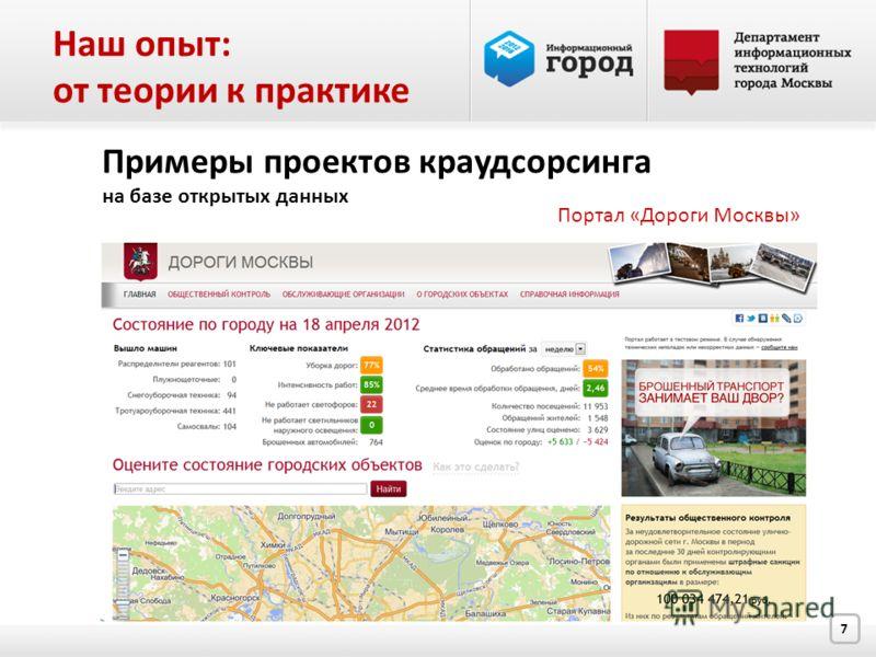 7 Примеры проектов краудсорсинга на базе открытых данных Портал «Дороги Москвы» Наш опыт: от теории к практике