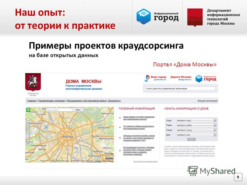 9 Примеры проектов краудсорсинга на базе открытых данных Портал «Дома Москвы» Наш опыт: от теории к практике