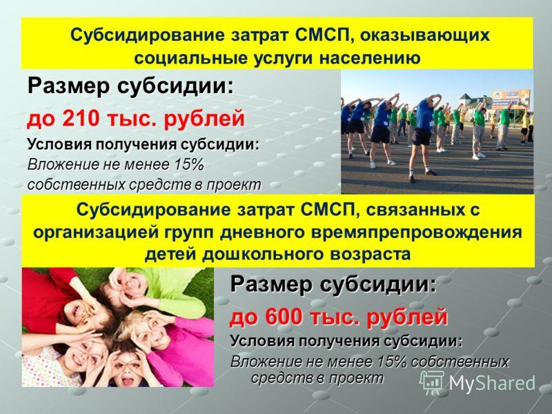Размер субсидии: до 210 тыс. рублей Субсидирование затрат СМСП, оказывающих социальные услуги населению Условия получения субсидии: Вложение не менее 15% собственных средств в проект Субсидирование затрат СМСП, связанных с организацией групп дневного