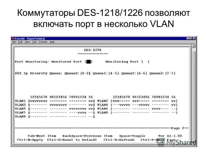 Коммутаторы DES-1218/1226 позволяют включать порт в несколько VLAN