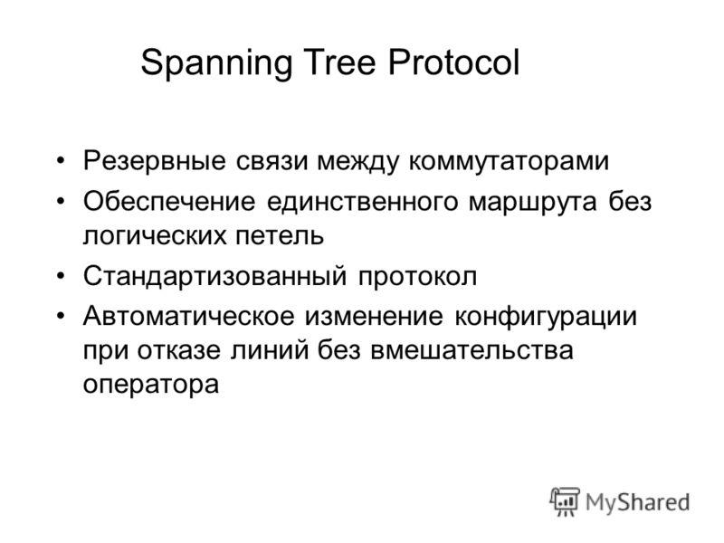Spanning Tree Protocol Резервные связи между коммутаторами Обеспечение единственного маршрута без логических петель Стандартизованный протокол Автоматическое изменение конфигурации при отказе линий без вмешательства оператора