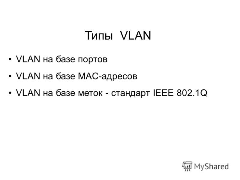 VLAN на базе портов VLAN на базе MAC-адресов VLAN на базе меток - стандарт IEEE 802.1Q Типы VLAN