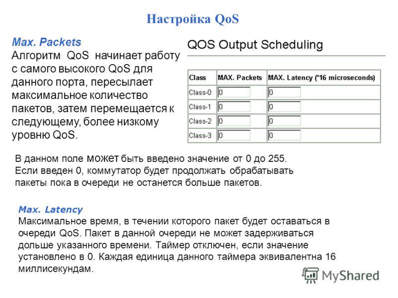 Max. Packets Алгоритм QoS начинает работу с самого высокого QoS для данного порта, пересылает максимальное количество пакетов, затем перемещается к следующему, более низкому уровню QoS. В данном поле может быть введено значение от 0 до 255. Если введ