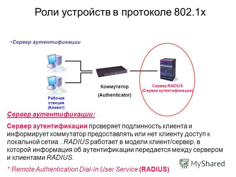 Сервер аутентификации Сервер аутентификации: Сервер аутентификации проверяет подлинность клиента и информирует коммутатор предоставлять или нет клиенту доступ к локальной сетиa.. RADIUS работает в модели клиент/сервер, в которой информация об аутенти
