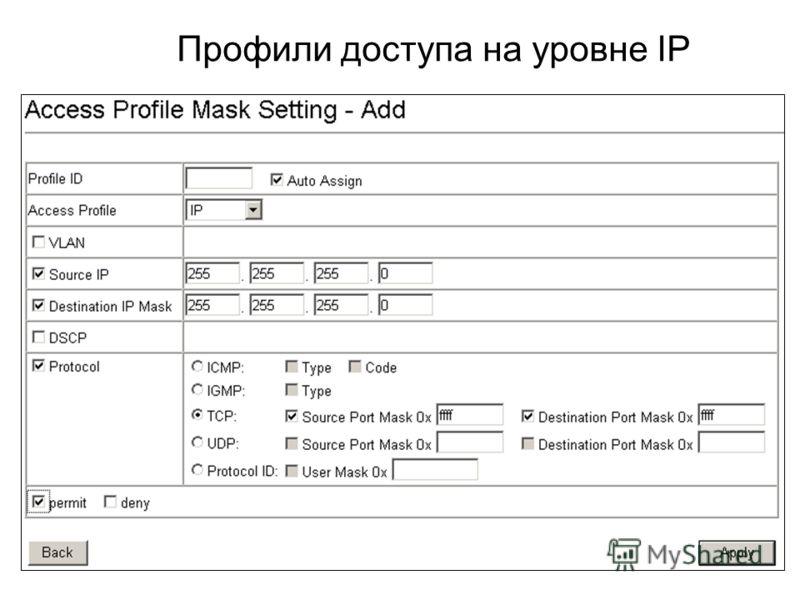 Профили доступа на уровне IP