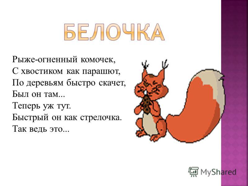 Рыже-огненный комочек, С хвостиком как парашют, По деревьям быстро скачет, Был он там... Теперь уж тут. Быстрый он как стрелочка. Так ведь это...