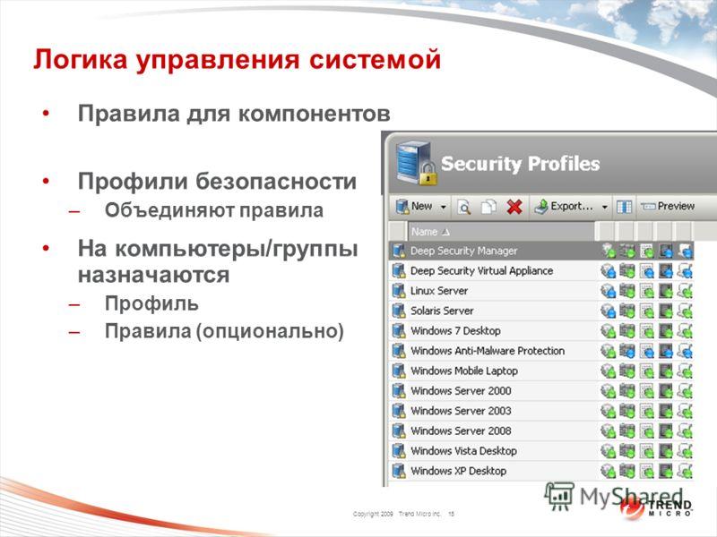 Copyright 2009 Trend Micro Inc. Логика управления системой Правила для компонентов Профили безопасности –Объединяют правила На компьютеры/группы назначаются –Профиль –Правила (опционально) 15