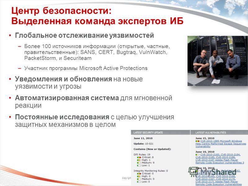 Copyright 2009 Trend Micro Inc. Центр безопасности: Выделенная команда экспертов ИБ 29 Глобальное отслеживание уязвимостей –Более 100 источников информации (открытые, частные, правительственные): SANS, CERT, Bugtraq, VulnWatch, PacketStorm, и Securit