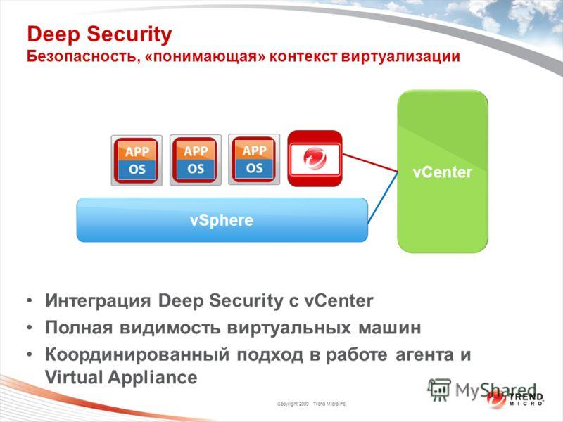 Copyright 2009 Trend Micro Inc. Deep Security Безопасность, «понимающая» контекст виртуализации vCenter Интеграция Deep Security с vCenter Полная видимость виртуальных машин Координированный подход в работе агента и Virtual Appliance vSphere