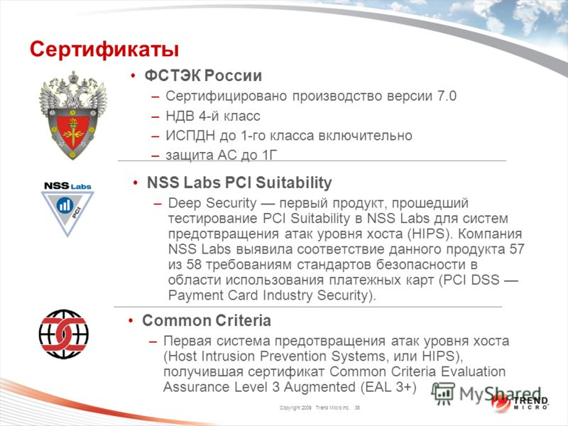 Copyright 2009 Trend Micro Inc. Сертификаты Common Criteria –Первая система предотвращения атак уровня хоста (Host Intrusion Prevention Systems, или HIPS), получившая сертификат Common Criteria Evaluation Assurance Level 3 Augmented (EAL 3+) 38 NSS L