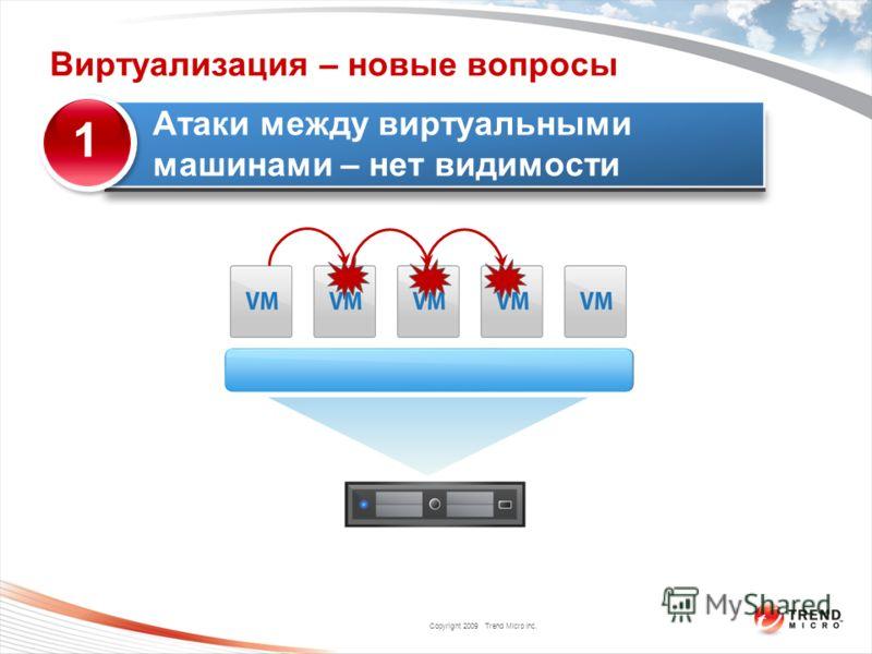 Copyright 2009 Trend Micro Inc. Атаки между виртуальными машинами – нет видимости 1 Виртуализация – новые вопросы
