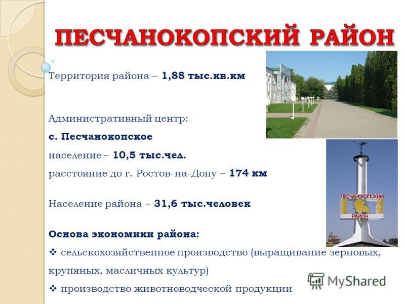 Территория района – 1,88 тыс.кв.км Административный центр: с. Песчанокопское население – 10,5 тыс.чел. расстояние до г. Ростов-на-Дону – 174 км Население района – 31,6 тыс.человек Основа экономики района: сельскохозяйственное производство (выращивани
