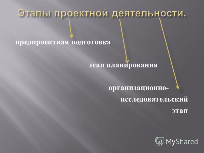 предпроектная подготовка этап планирования организационно - исследовательский этап
