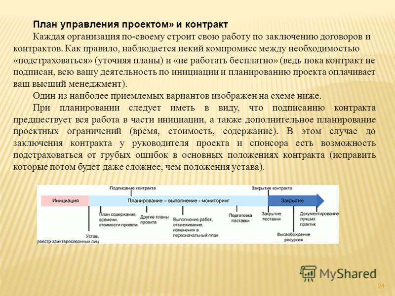 24 План управления проектом» и контракт Каждая организация по-своему строит свою работу по заключению договоров и контрактов. Как правило, наблюдается некий компромисс между необходимостью «подстраховаться» (уточняя планы) и «не работать бесплатно» (