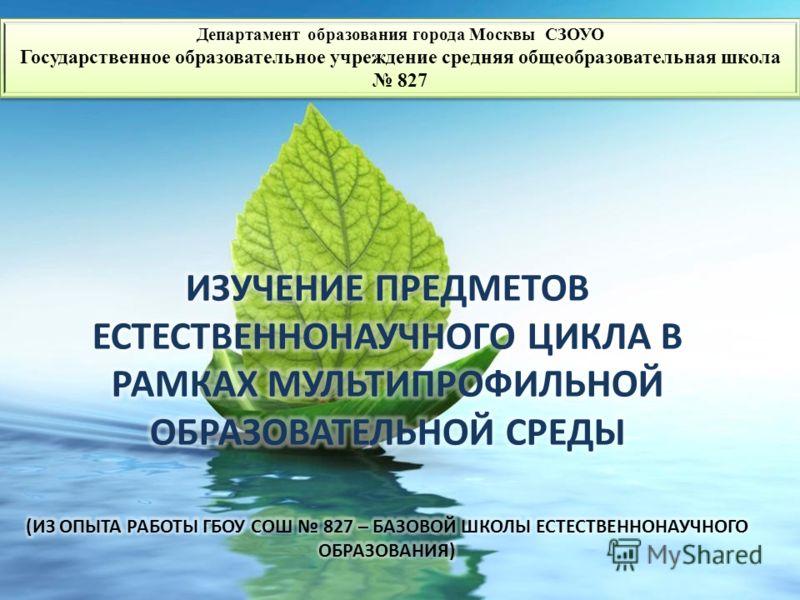 Департамент образования города Москвы СЗОУО Государственное образовательное учреждение средняя общеобразовательная школа 827