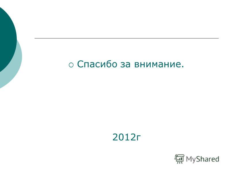 Спасибо за внимание. 2012г