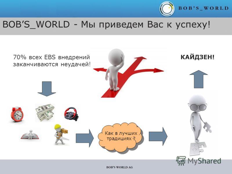 BOBS_WORLD - Мы приведем Вас к успеху! 70% всех EBS внедрений заканчиваются неудачей! КАЙДЗЕН! Как в лучших традициях ?
