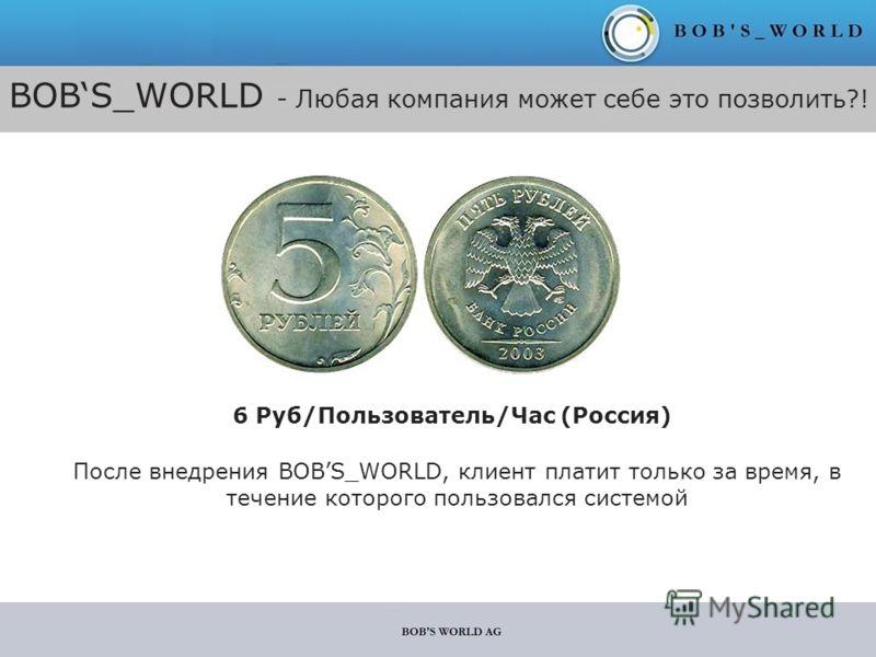 BOBS_WORLD - Любая компания может себе это позволить?! 6 Руб/Пользователь/Час (Россия) После внедрения BOBS_WORLD, клиент платит только за время, в течение которого пользовался системой