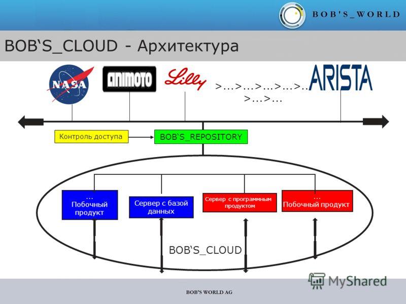 BOBS_CLOUD Сервер с базой данных... Побочный продукт Сервер с программным продуктом... Побочный продукт Company 1 Company 2 Company n >...>...>...>...>... >...>... BOBS_REPOSITORY Контроль доступа BOBS_CLOUD - Архитектура Company 3