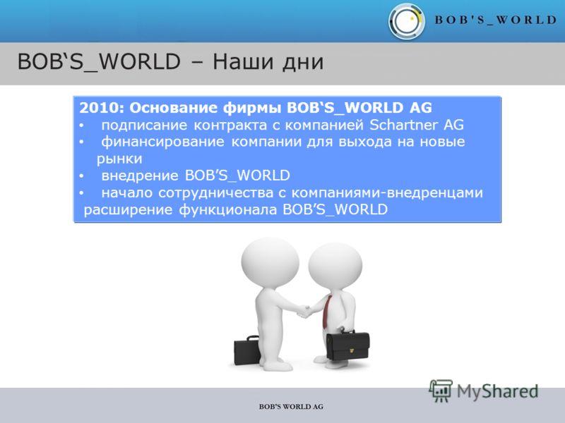 BOBS_WORLD – Наши дни 2010: Основание фирмы BOBS_WORLD AG подписание контракта с компанией Schartner AG финансирование компании для выхода на новые рынки внедрение BOBS_WORLD начало сотрудничества с компаниями-внедренцами расширение функционала BOBS_