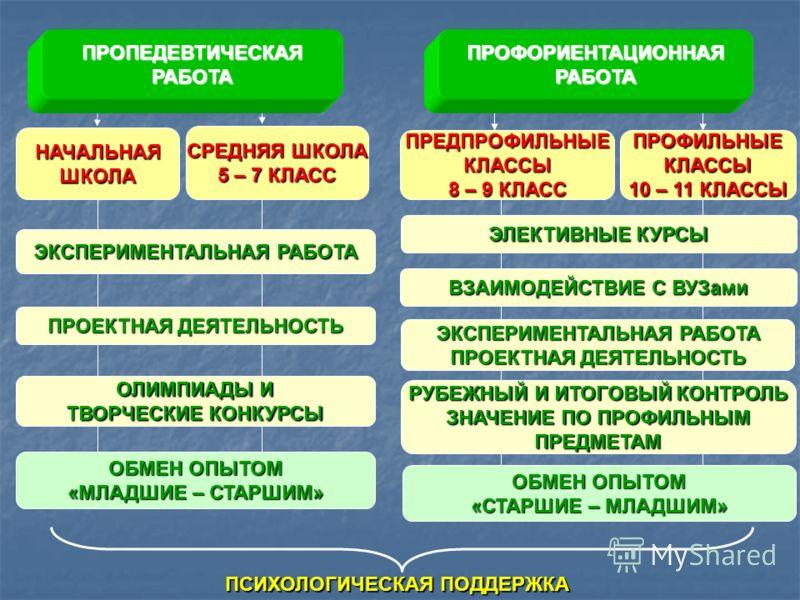 ВЗАИМОДЕЙСТВИЕ С ВУЗами ПРЕДПРОФИЛЬНЫЕКЛАССЫ 8 – 9 КЛАСС ЭКСПЕРИМЕНТАЛЬНАЯ РАБОТА НАЧАЛЬНАЯШКОЛА ПРОЕКТНАЯ ДЕЯТЕЛЬНОСТЬ ЭЛЕКТИВНЫЕ КУРСЫ ПРОЕКТНАЯ ДЕЯТЕЛЬНОСТЬ СРЕДНЯЯ ШКОЛА 5 – 7 КЛАСС ПРОФИЛЬНЫЕКЛАССЫ 10 – 11 КЛАССЫ ОЛИМПИАДЫ И ТВОРЧЕСКИЕ КОНКУРСЫ