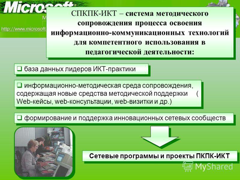 Сетевые программы и проекты ПКПК-ИКТ СПКПК-ИКТ – система методического сопровождения процесса освоения информационно-коммуникационных технологий для компетентного использования в педагогической деятельности: формирование и поддержка инновационных сет