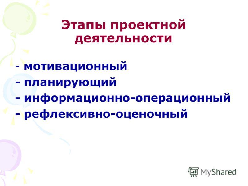 Этапы проектной деятельности - мотивационный - планирующий - информационно-операционный - рефлексивно-оценочный