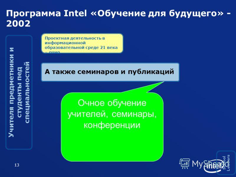 13 Программа Intel «Обучение для будущего» - 2002 А также семинаров и публикаций Учителя предметники и студенты пед специальностей School Leaders Проектная деятельность в информационной образовательной среде 21 века – очно Очное обучение учителей, се