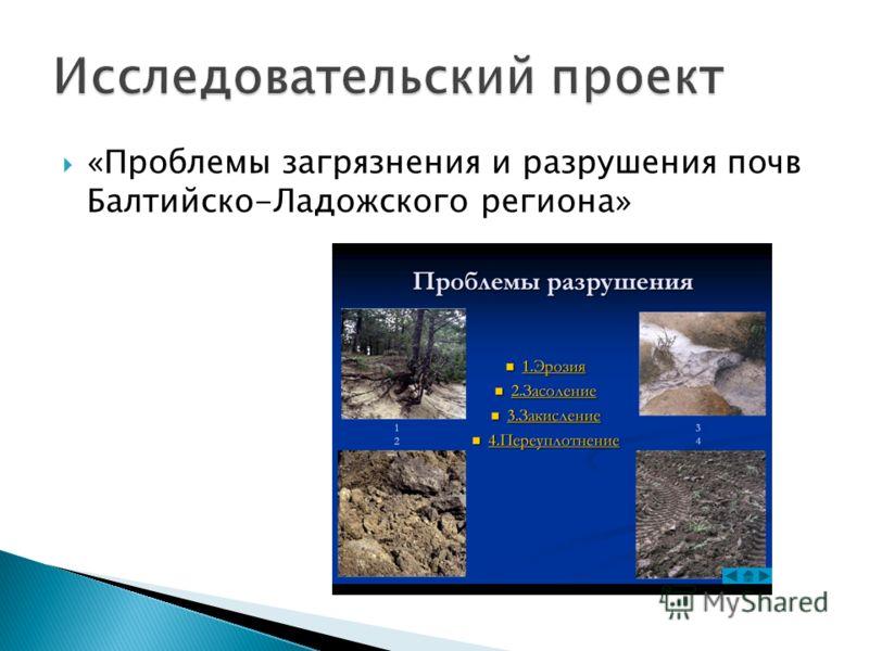 «Проблемы загрязнения и разрушения почв Балтийско-Ладожского региона»