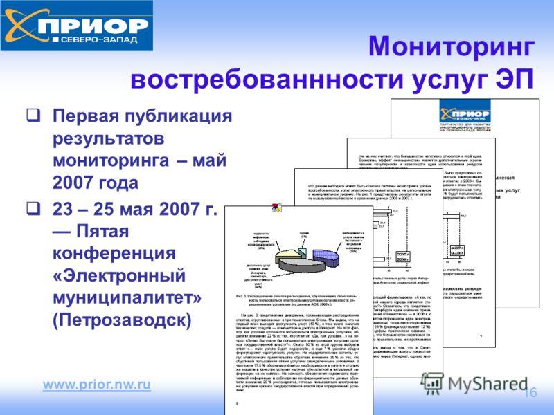 www.prior.nw.ru 16 Первая публикация результатов мониторинга – май 2007 года 23 – 25 мая 2007 г. Пятая конференция «Электронный муниципалитет» (Петрозаводск) Мониторинг востребованнности услуг ЭП
