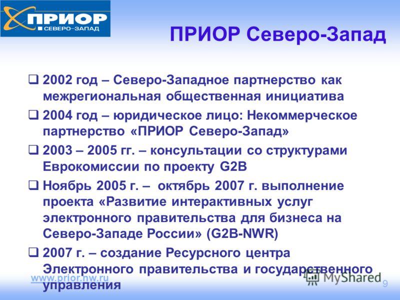 www.prior.nw.ru 9 ПРИОР Северо-Запад 2002 год – Северо-Западное партнерство как межрегиональная общественная инициатива 2004 год – юридическое лицо: Некоммерческое партнерство «ПРИОР Северо-Запад» 2003 – 2005 гг. – консультации со структурами Евроком