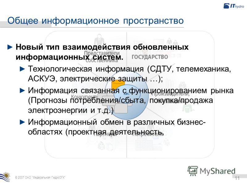 КИС Общее информационное пространство 11 © 2007 ОАО
