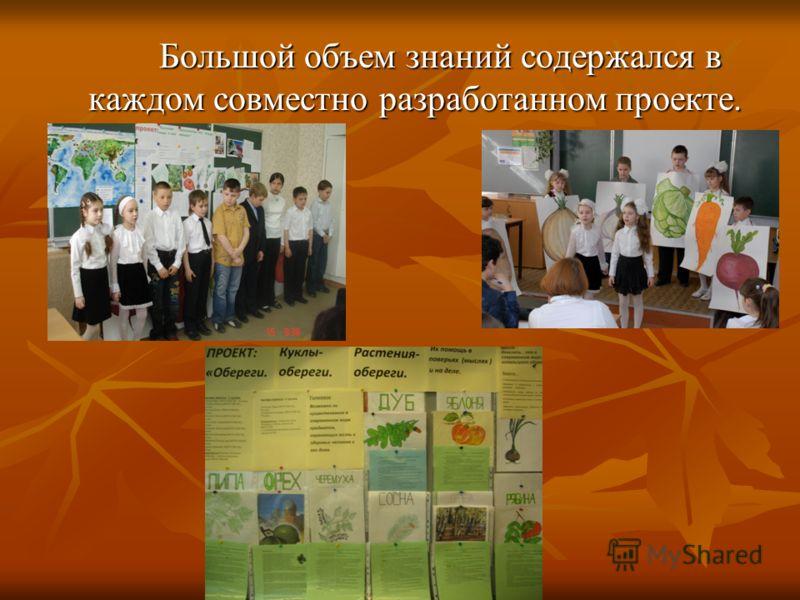 Большой объем знаний содержался в каждом совместно разработанном проекте.