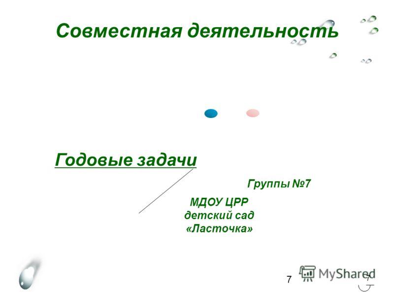 7 7 Совместная деятельность Годовые задачи МДОУ ЦРР детский сад «Ласточка» Группы 7