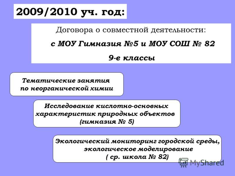 2009/2010 уч. год: Договора о совместной деятельности: с МОУ Гимназия 5 и МОУ СОШ 82 9-е классы Тематические занятия по неорганической химии Исследование кислотно-основных характеристик природных объектов (гимназия 5) Экологический мониторинг городск
