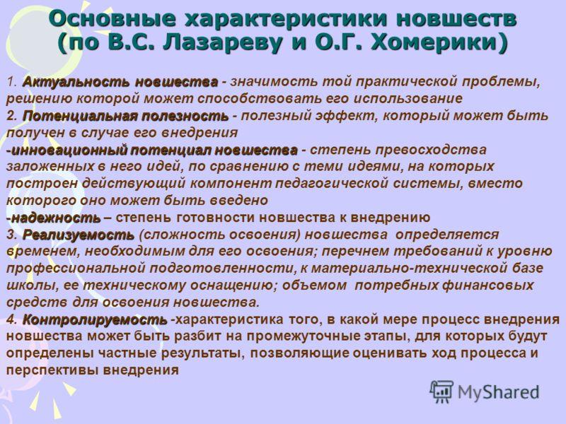Основные характеристики новшеств (по В.С. Лазареву и О.Г. Хомерики) Актуальность новшества 1. Актуальность новшества - значимость той практической проблемы, решению которой может способствовать его использование Потенциальная полезность 2. Потенциаль