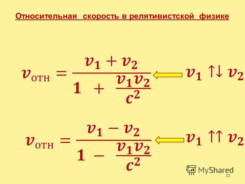 21 Релятивистский закон сложения скоростей 1. ( по течению реки) 2. ( против течения реки)
