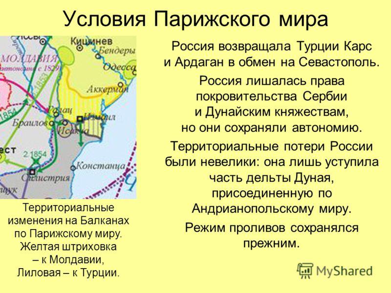 Позорные итоги Крымской войны для России от победителей: Англии, Франции, Турции и Сардинского королевства (часть Италии).