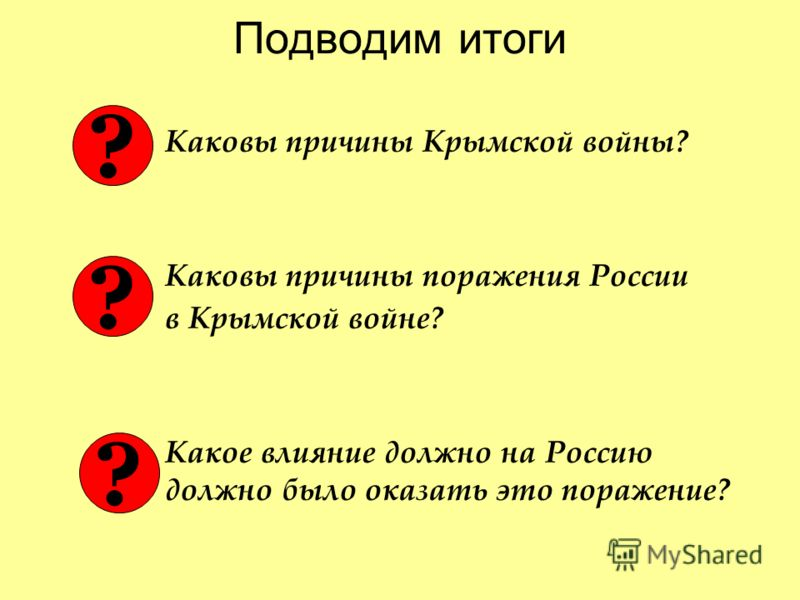 Подводим итоги Каковы причины Крымской войны? Каковы причины поражения России в Крымской войне? Какое влияние должно на Россию должно было оказать это поражение? ? ? ?