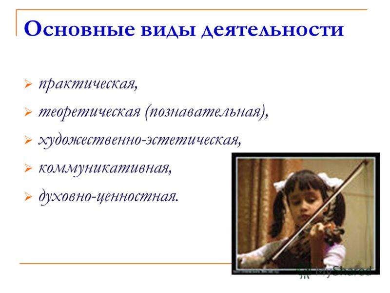 Основные виды деятельности практическая, теоретическая (познавательная), художественно-эстетическая, коммуникативная, духовно-ценностная.