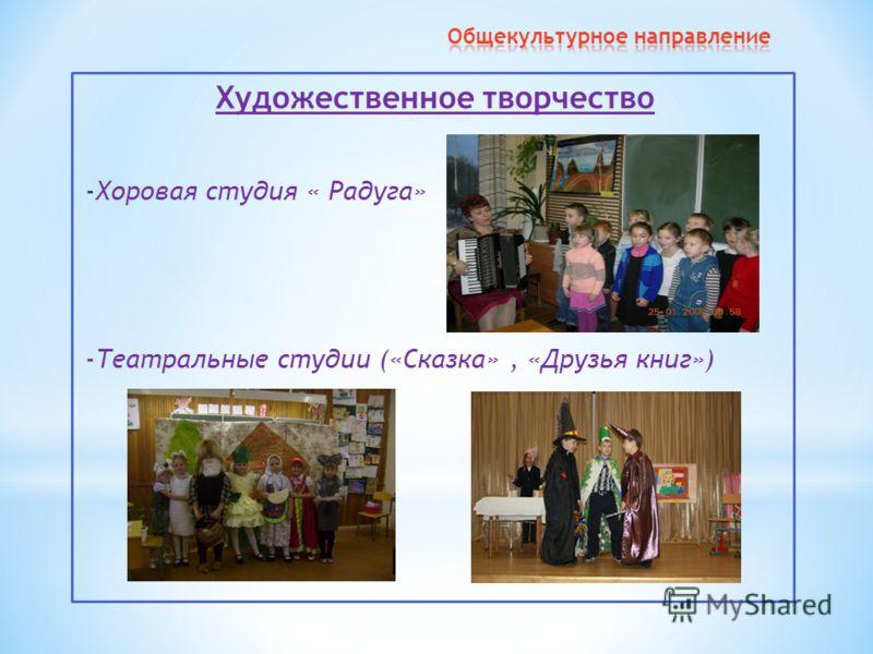 Художественное творчество -Хоровая студия « Радуга» -Театральные студии («Сказка», «Друзья книг»)