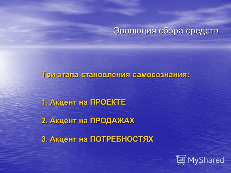 Три этапа становления самосознания: 1. Акцент на ПРОЕКТЕ 2. Акцент на ПРОДАЖАХ 3. Акцент на ПОТРЕБНОСТЯХ Эволюция сбора средств